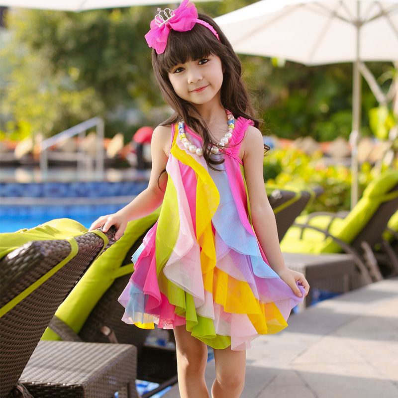 Children Fashion Girl In Tropical Turquoise Beach: New 2015 Summer Sweet Girls Colorful Rainbow Beach Wear