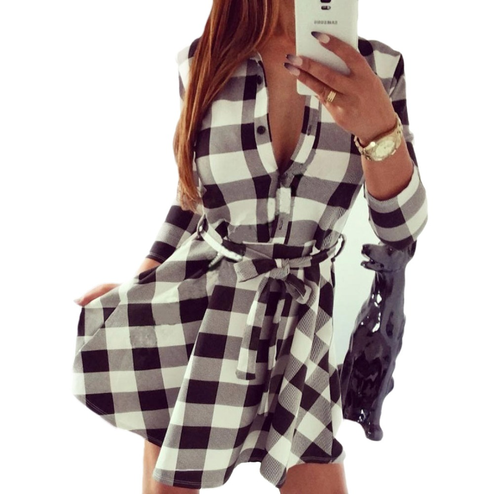 Women Turn down Collar White And Black Plaid Belted 3/4 ...