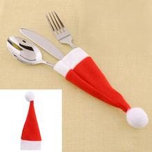Red font b Santa b font Hat font b Christmas b font Fork Bags Tableware Silverware