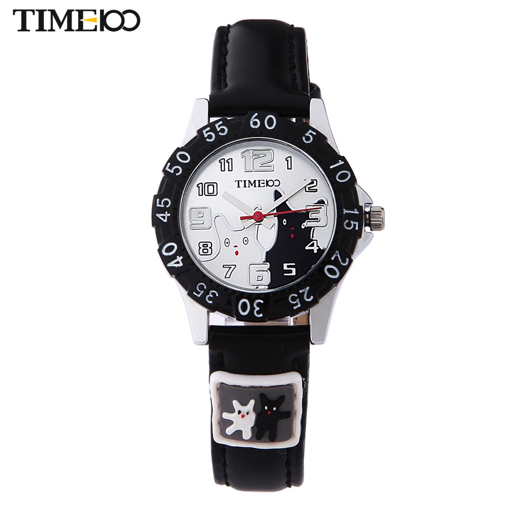 Time100 Cartoon Watch for Kids Fashion Black Leather Strap Casual Girls Student Hand Watches Children Quartz Led Watch Clock
