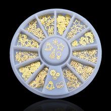 Gold Color DIY 3d nail art bijoux ongles strass ongles decoracion de unas nail glitter decorazioni