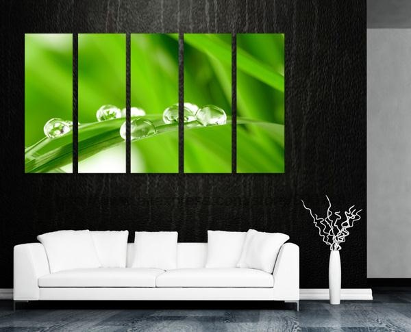Water drops on grass gallery canvas oil painting discount - Cheap wall decals for living room ...