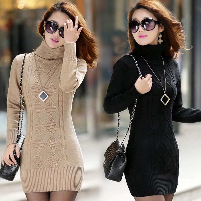 Compre 2018 Atumen Mujeres Suéter De Cuello Alto De Manga Larga Delgado Suéteres Mujeres Cálido Elástico De Alta Calidad Suéter Vestidos Pull Femme A