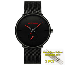 Мужские часы, 2020 Crrju, модные тонкие черные мужские часы из нержавеющей стали, Классические мужские часы, Топ бренд класса люкс, relogio masculino(Китай)