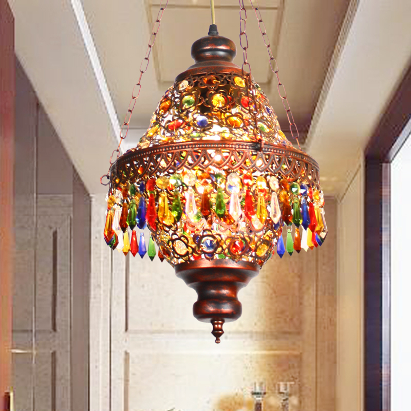 Diffuse Small Pendant Light Southeast Asia Thai Style Coffee Colored Bohemian Crystal Pendant