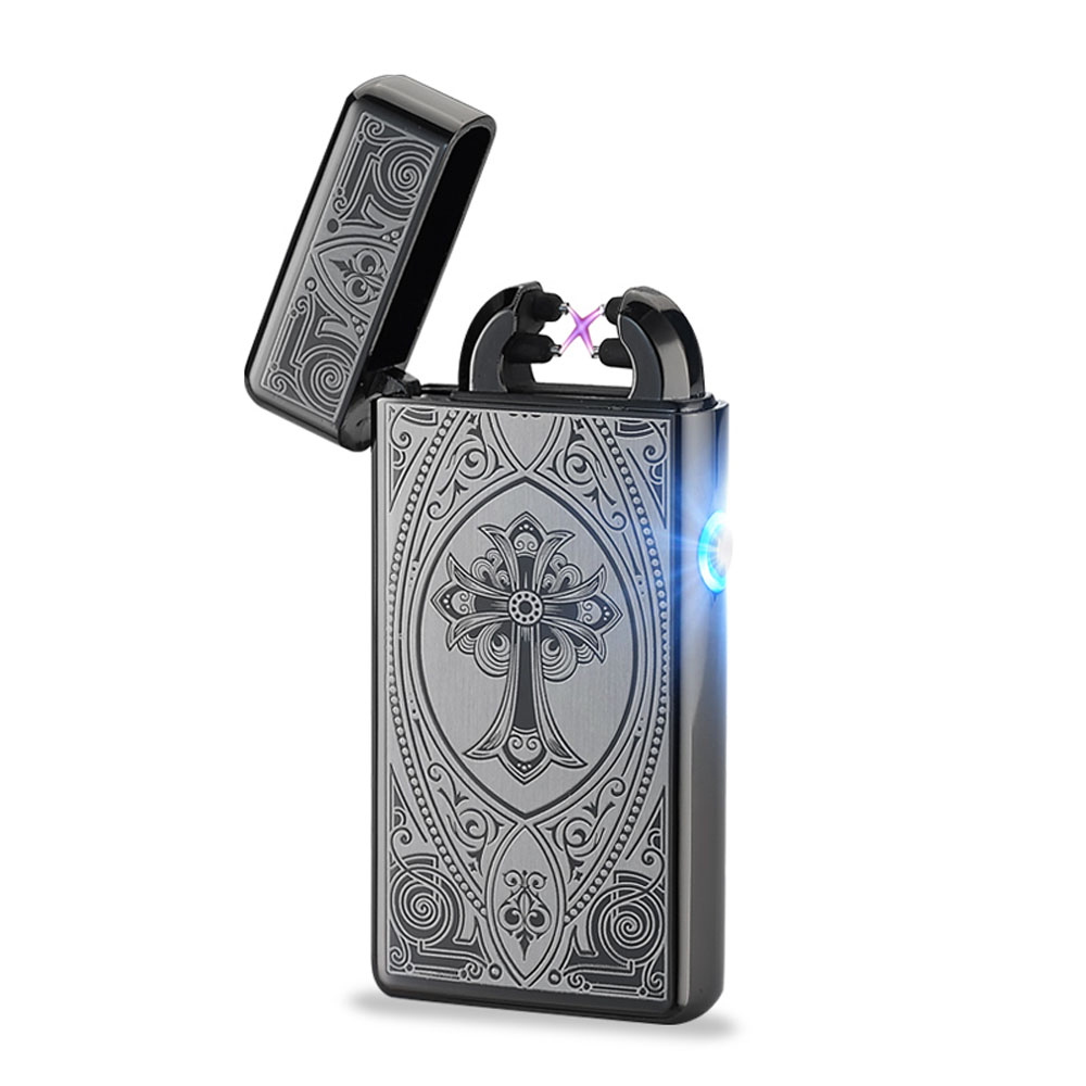 Usb Rechargeable Electric Arc Lighters Double Pulse Slim Lighter No Gas Smokeless Most Popular ...