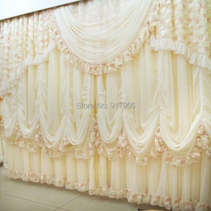 luxe dentelle volants fille princesse rideaux pour salon moderne cor enne volants chambre. Black Bedroom Furniture Sets. Home Design Ideas