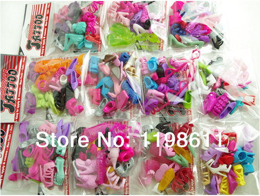 Free Shipping 2014 New Most popular 100 Pair Doll Shoes Mix Style Mix Color Shoes For