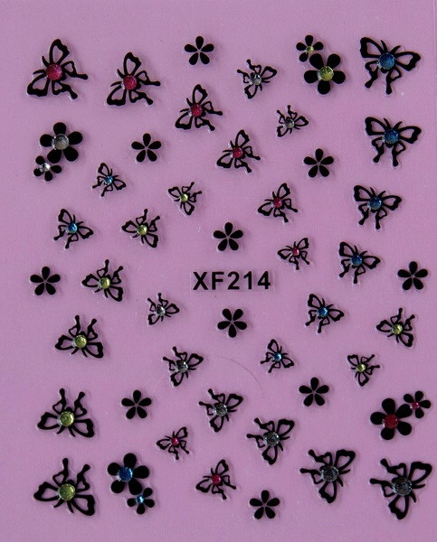 butterfly black 3D design Water Transfer Nails Art Sticker decals lady women manicure tools Nail Wraps
