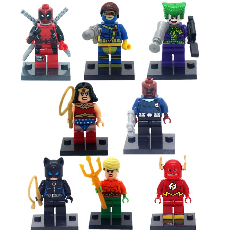 New Hot 8pcs lot Super Hero Superheroes Deadpool Kid Baby Toy Mini Figure Building Blocks Sets