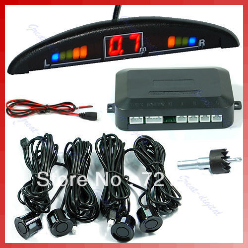 J106 бесплатная доставка автомобильный цифровой из светодиодов дисплей парковка обратный резервный радиолокационной системы с 4 датчиками Y106