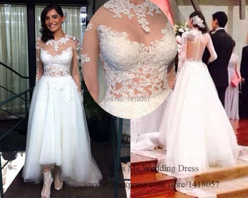 White Lace Sexy Wedding Dress Short Front Long Back Bridal