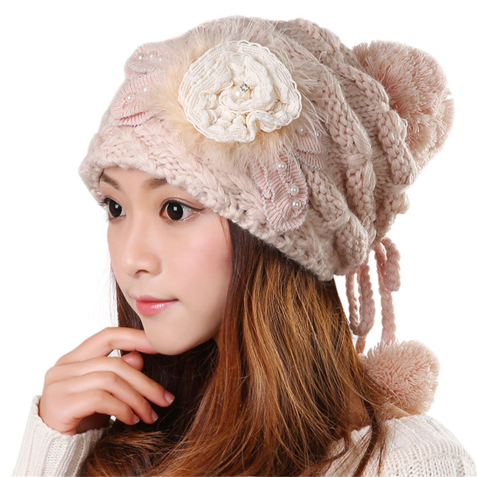 Winter Beanie Cute Warm Kawaii Tight Knitted Faux Fur Hat ...