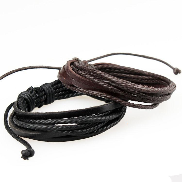 Браслет мужчины дешевые высокое качество круглый модный многослойные веревка цепи-мужчин кожаные браслеты для ювелирных изделий Pulseira Masculina