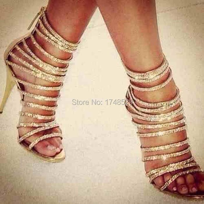 Wholesale Shinny Gold Metallic Sandals Bling Crystal