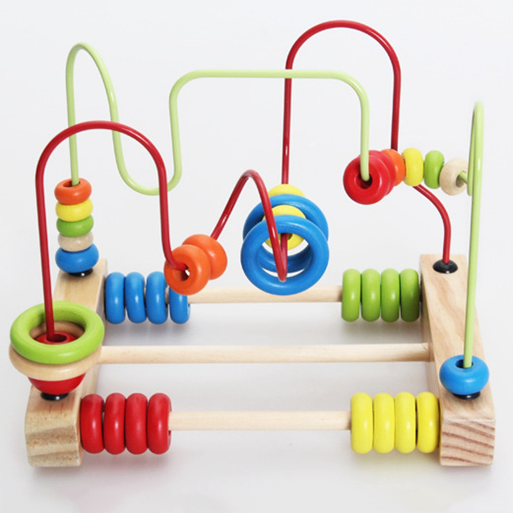 Counting Circles Bead Abacus Wire Maze Roller Coaster Wooden Montessori Educational Toy for Baby Kids Chilrden