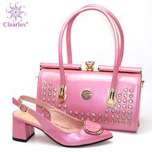 Комплект из туфель и сумочки фиолетового цвета, итальянский комплект из туфель и сумочки для вечеринки в нигерийском стиле, Женский комплек...(Китай)