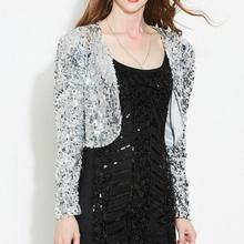 Spring Women Long Sleeve Short Cropped Coat Shiny Sequin Bolero Shrug  Cardigan Jacket Gold Black Silver f03426c3c039