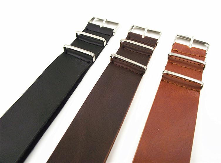 20 мм полиуретан кожа часовой браслет часы ремень ленточная-нато кожа лента - коричневый, Черный, Кофе цвет - 0201104