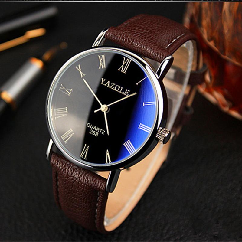 Роскошь синий рэй стекло медный купорос номер кварцевый аналоговый мужские часы, Кожа лента relojes мужчины спорт до запястья часы кожа