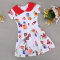 Fashion Summer Kids Girls Peter Pan Collar Short Sleeve High Waist Dress Floral Pleated Dress