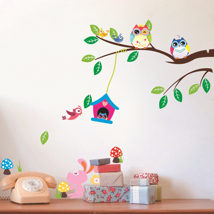 Cute Owl In The Tree With A Warm House Wall Sticker Vinyl Decal Home Decor For Kids Room CT010