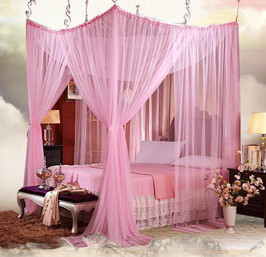 4 8 four corner romantic lace canopy mosquito net bed - King size canopy bed with curtains ...