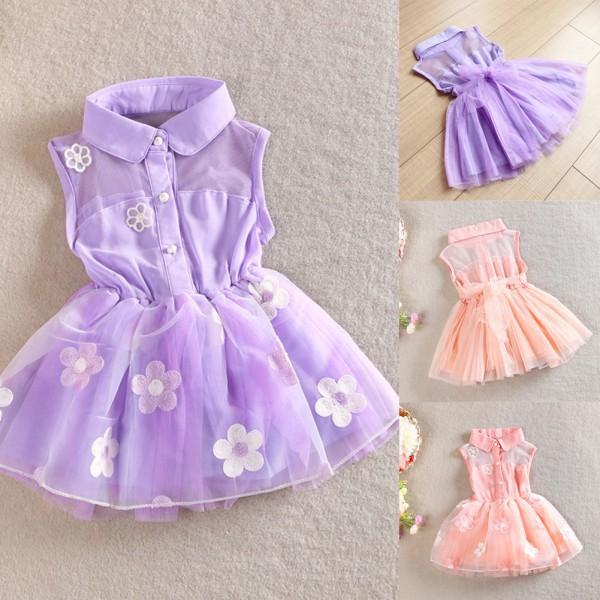 Stylish Kids Gilrs Sleeveless Floral Dress Chiffon Princess Children Wedding Party Dress