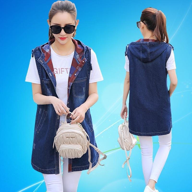 Compra Sin mangas con capucha chaqueta de mezclilla online