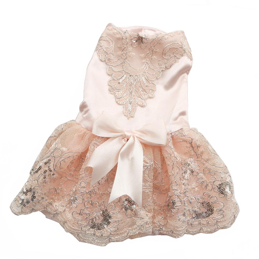Платье для собаки роскошь принцесса цветы кружево свадьба платье для компактный собаки