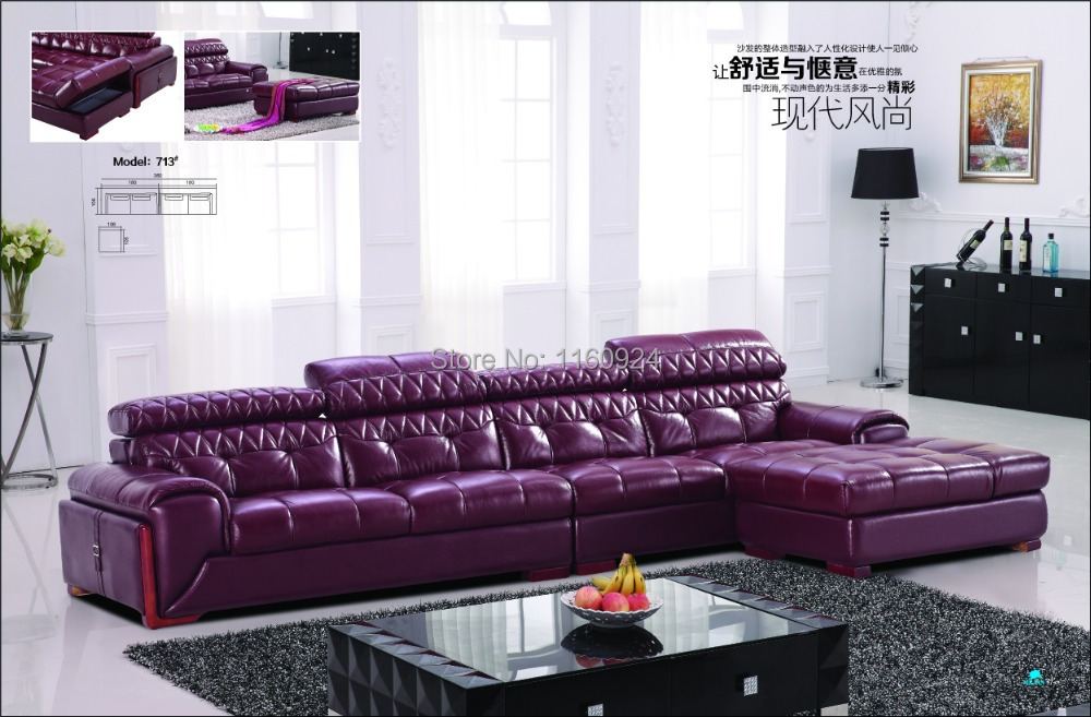 Purple Genuine Leader Noble Sectional Sofa Set-in Living