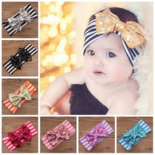 Baby Sequin Bowknot Striped Headbands Kids Turban Headwrap Girl Big Bow Top Knot Fashion Elastic Hair