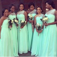 Шифоновое длинное платье подружки невесты мятно-зеленого цвета, ТРАПЕЦИЕВИДНОЕ ПЛАТЬЕ на одно плечо в пол, недорогое платье подружки невес...(Китай)