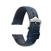 20 мм 22 мм ремешок для часов из натуральной кожи масло воск кожа/Crazy Horse кожаный ремешок для часов Замена наручных ремней для мужчин и женщин(China)
