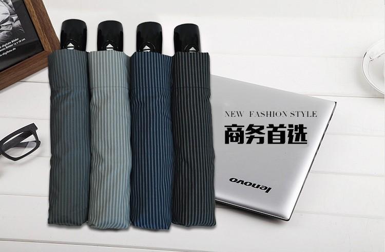 f63c00852f09 Korean-style striped fully automatic three folding adult brand black  coating UV parasol Sunny   Rain umbrella rain women - us166
