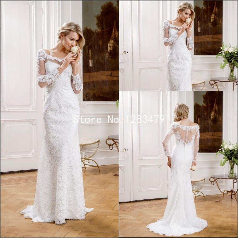 2015 New Elegant Full Long Sleeves Mermaid Wedding Dresses: 2015 Wedding Dresses Vintage Long Sleeve Lace Mermaid