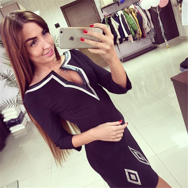 Новое поступление женщин осень платье 2015 мода свободного покроя три четверти тонкий сплошной осень платье в вырезом все-матч горячая распродажа стиль