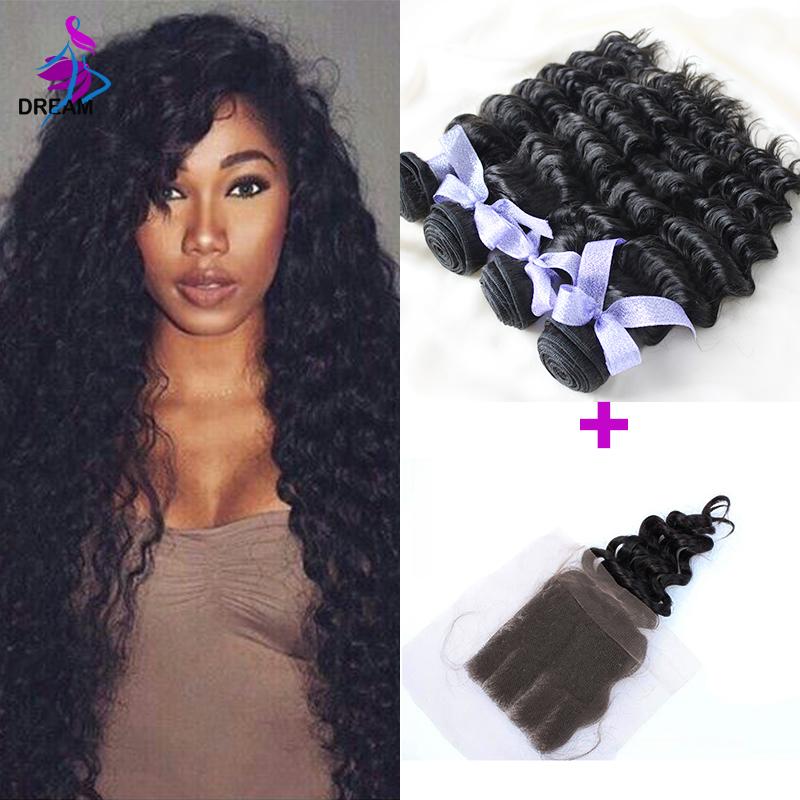 8A Cheap Virgin Indian Deep Curly 4x4 Closure 100 Human Hair Deep Wave Lace Closure Bleached