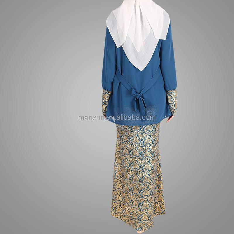 Muslim Fashion Songket Baju Kurung High Quality Chiffon Blue Baju Kurung And Kebaya Islamic