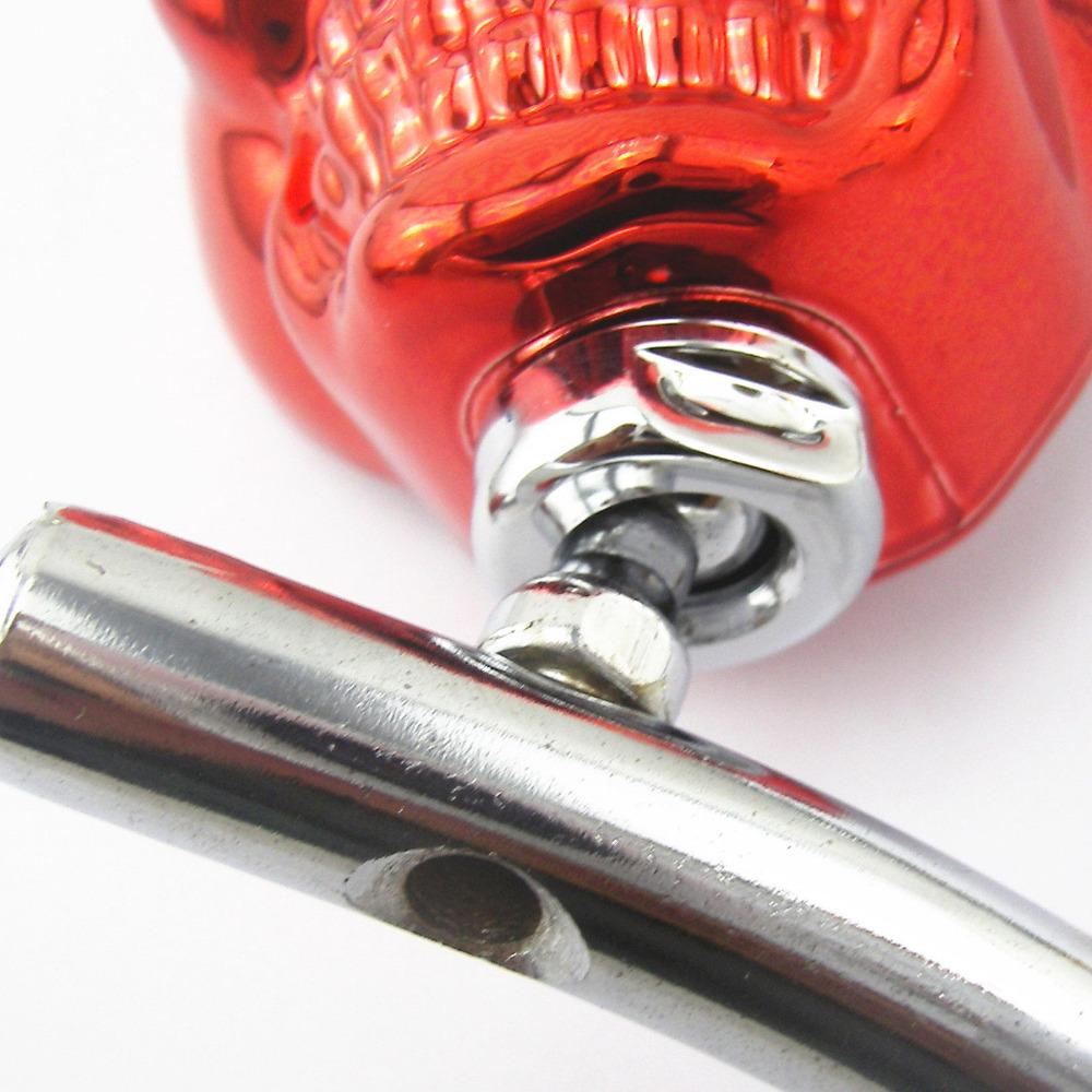 Универсальный мотоциклов скелет красный череп глава хром заднего боковые зеркала 8 - 10 мм