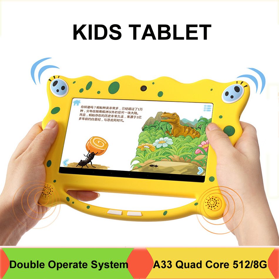 7 inch Kids Tablet PC Plate SpongeBob Allwinner 512MB/8GB A33 Quad Core  Children Tablet Android 4 4 2 Dual Camera Dual OS WIFI