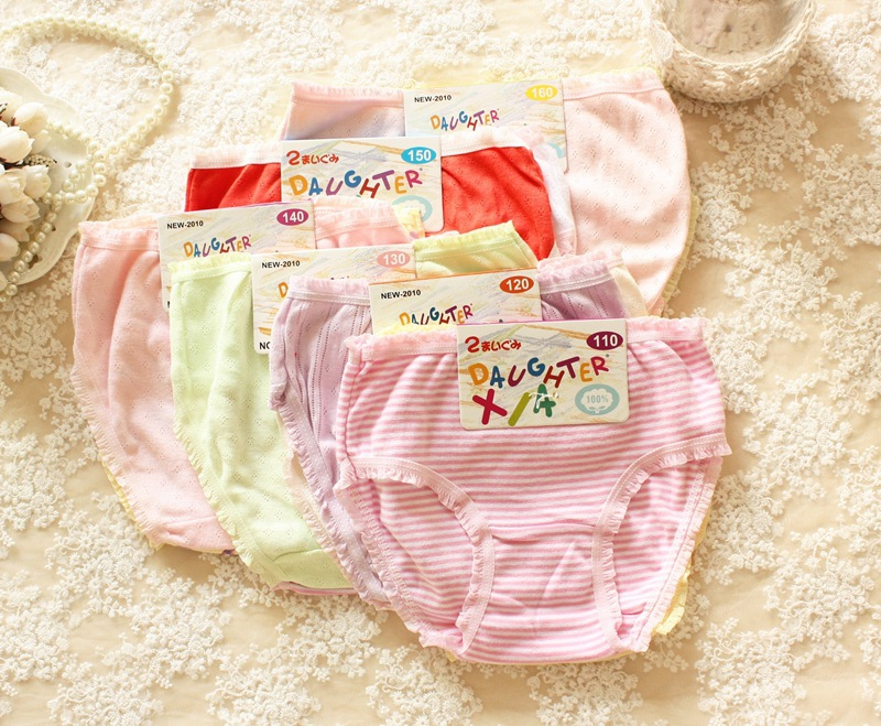 6PCS wholesale Foreign trade breathable cotton underwear of the girls Pure cotton cartoon baby pants Children