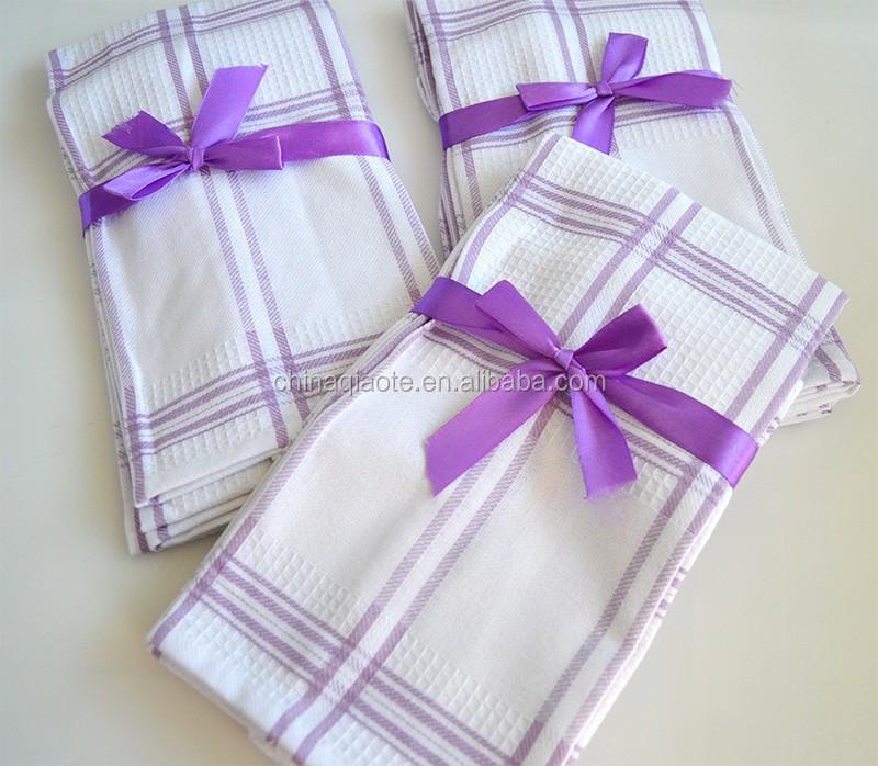 Kitchen Textile Plain Purple Cotton Tea Towel Wholesale