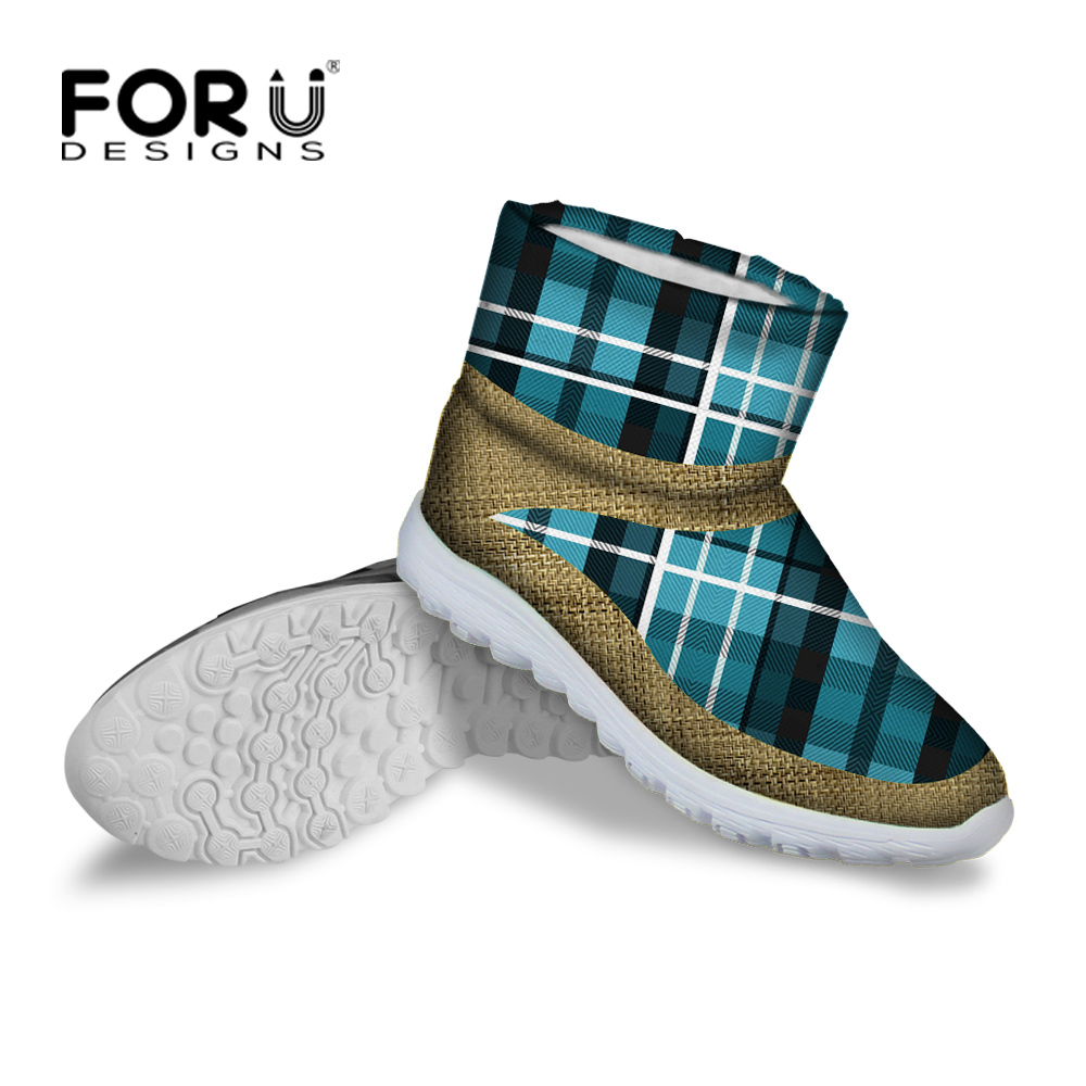 Women Boots Round Toe Ankle Boots Casual Tartan Winter ...