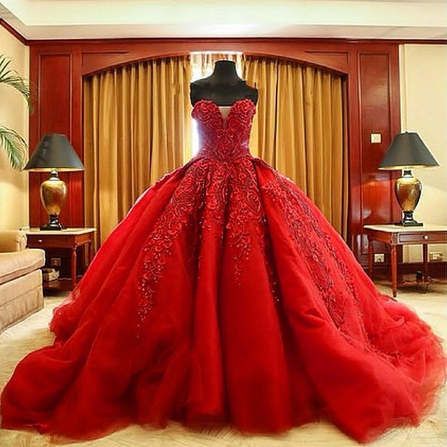 Red And White Ball Gown Wedding Dress: Charming Ball Gown Red Wedding Dresses Sexy Sweetheart