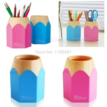 F85 Free Shipping Pink/Blue Pencil Makeup Brush Holder Pen Cup Box Desk Organizer Kids Gift New