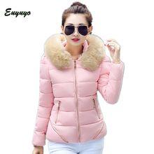 Winter Jacket Women 2015 Winter Coat Women Solid Slim Warm Large Fur Collar Hood Down & Parkas Casaco Feminino Plus Size CCC394S
