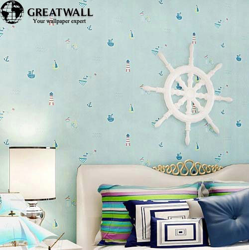Non Girly Bedroom Ideas: Non Woven Wallpapers For Kids Bedroom Cartoon Blue