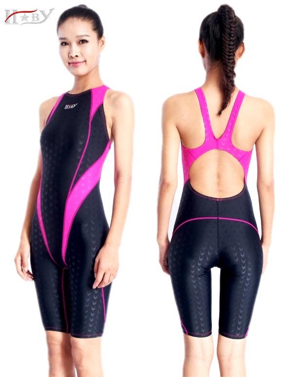9c0ac7a64c815 HXBY swimwear kids girls racing chlorine resistant training professional  sharkskin knee women training swimsuits