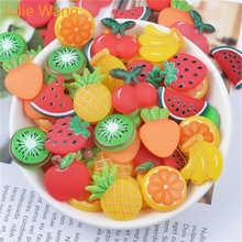10 шт., фрукты из смолы, вишня, апельсиновый банан, кулоны-слизи, аксессуары для изготовления ювелирных изделий, домашний чехол для телефона(Китай)